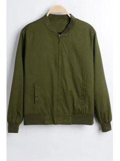 Solid Color Stand Collar Long Sleeve Jacket - Army Green M