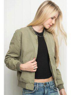 Solid Color Stand Collar Long Sleeve Jacket - Pea Green S