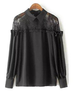 Lace Spliced Shirt Collar Long Sleeve Blouse - Black L