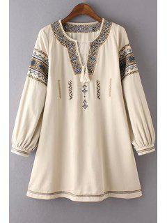 Retro Print Notched Neck Puff Sleeve Lace Up Dress - Off-white L