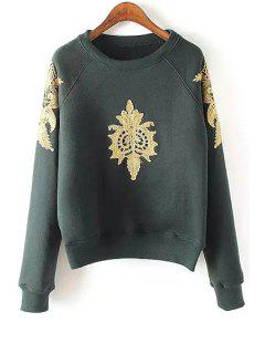 Fil-Lumiere Patch Round Collar Long Sleeve Sweatshirt - Blackish Green L