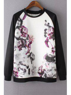 Ink Printing Round Collar Long Sleeve Sweatshirt - L