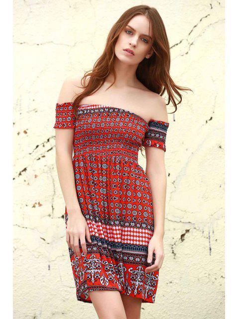Slash cou ethnique Print Dress - Rouge M Mobile