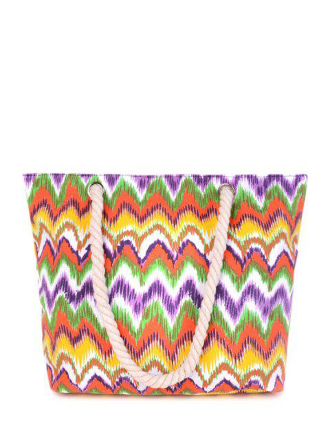 lady Wavy Stripe Color Block Canvas Shoulder Bag - COLORMIX  Mobile