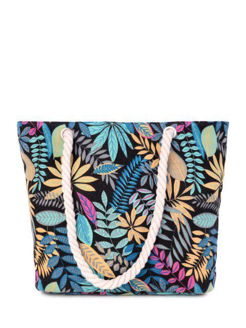 buy Canvas Leaf Print Color Block Shoulder Bag - BLACK  Mobile
