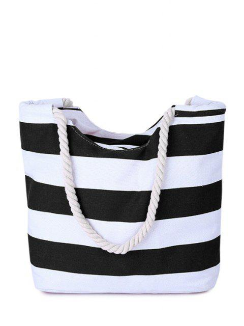 fashion Stripes Color Block Canvas Shoulder Bag - BLACK  Mobile