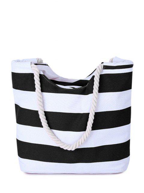Stripes Color Block Toile Sac à bandoulière - Noir  Mobile