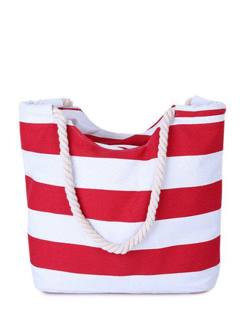 fancy Stripes Color Block Canvas Shoulder Bag - RED  Mobile