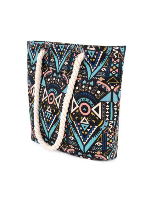 outfit Tribal Print Rope Canvas Shoulder Bag - BLACK  Mobile
