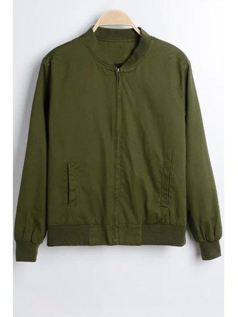 Color sólido del collar del soporte de la chaqueta de manga larga - Verde del ejército M Mobile