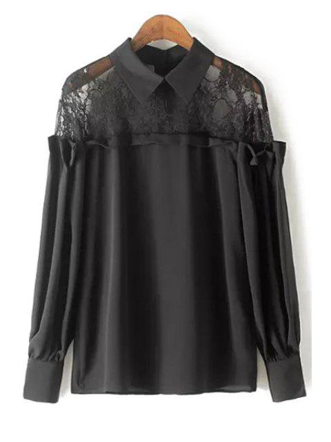 De manga larga de encaje empalmado Cuello Camisa Blusa - Negro S Mobile