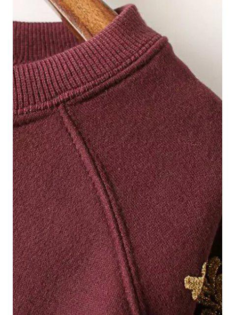 women Fil-Lumiere Patch Round Collar Long Sleeve Sweatshirt - BLACKISH GREEN L Mobile