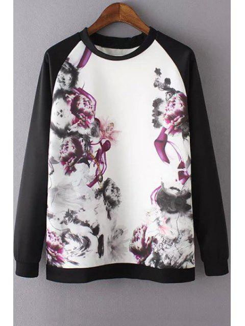 Collier d'encre d'imprimerie ronde Longue Sleeve Sweatshirt - Multicolore M Mobile