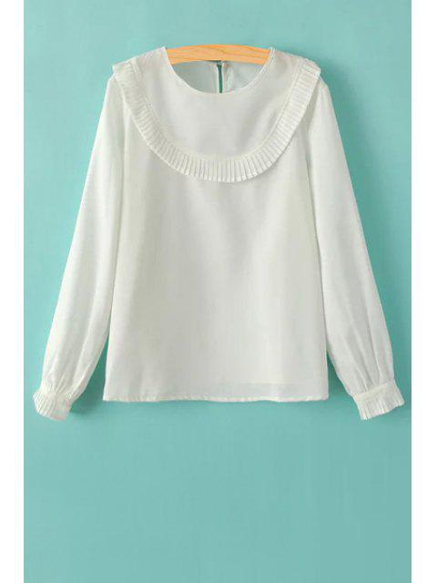 Ruffles Spliced Round Kragen Langarm T-Shirt - Weiß S Mobile