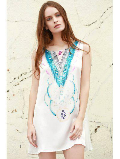 Round Neck Abstract Print Mini Dress - Light Blue M
