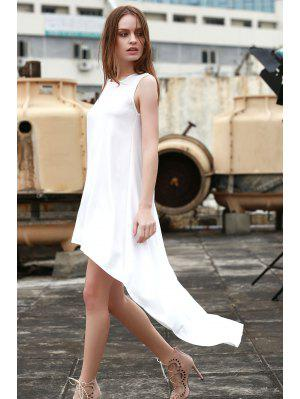 Blanc High-Low Hem Robe d'été