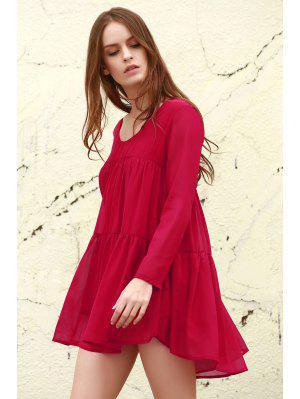 Robe Blouse En Chiffon à Manches Longues  - Rouge Xl