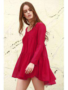 Long Sleeve Chiffon Smock Dress - Red S