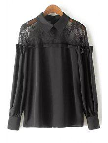 Lace Spliced Shirt Collar Long Sleeve Blouse - Black S