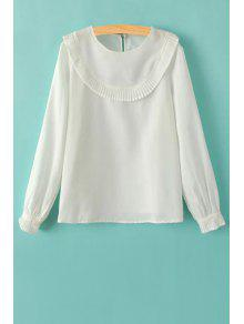 Ruffles Spliced Round Collar Long Sleeve T-Shirt - White S