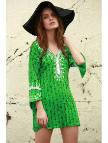 L Vestido Estampado Con 250;nica De Verde T Mini AwxqSvA0