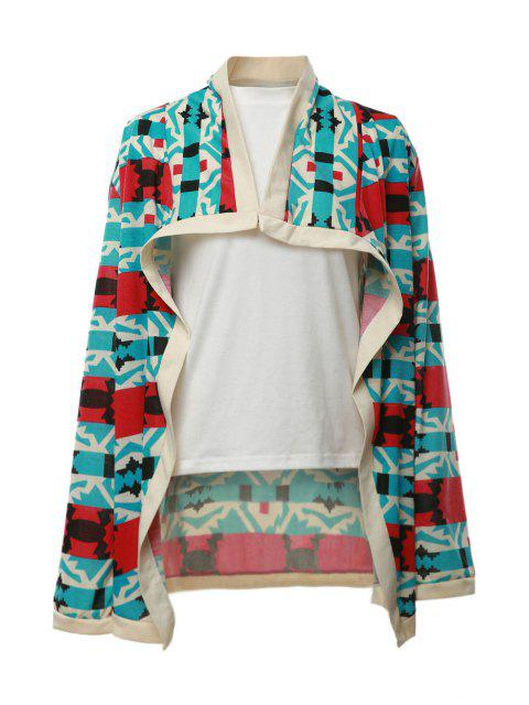 trendy Geometrical Pattern Long Sleeve Cardigan - RED M Mobile