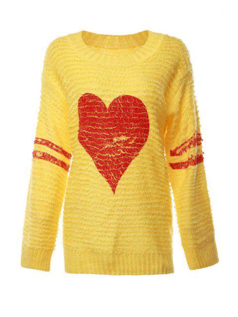 Herz-Muster-langer Hülsen-Pullover - Gelb Einheitsgröße(Geeign Mobile