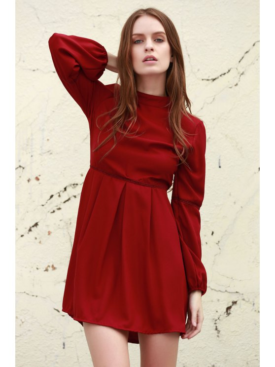 hot Long Sleeve Dress With Ladder Detail - DEEP RED L