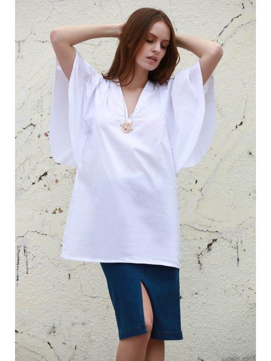 Robe Blanche à Manches 1/2 et Col Plongeant - Blanc L