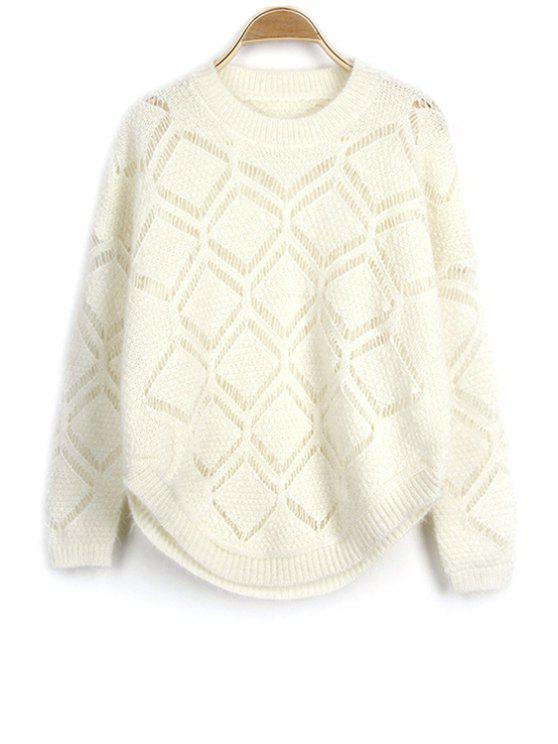 ladies Solid Color Cut Out Round Neck Long Sleeve Sweater - OFF-WHITE ONE SIZE(FIT SIZE XS TO M)