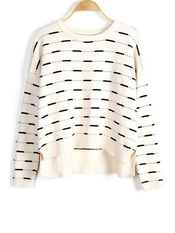 chic Solid Color High-Low Round Neck Long Sleeve Sweater - WHITE ONE SIZE(FIT SIZE XS TO M)