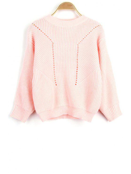 shop Solid Color Hollow Out Round Neck Long Sleeve Sweater - PINK ONE SIZE(FIT SIZE XS TO M)