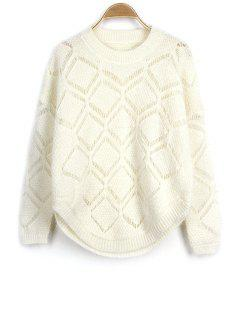 Solid Color Cut Out Round Neck Long Sleeve Sweater - Off-white