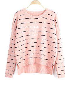 Einfarbiger Hoch Niedriger Langarm Pullover Mit Rundhalsausschnitt - Pink
