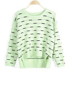 Solid Color High-Low Round Neck Long Sleeve Sweater - Light Green