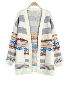 Loose Geometric Pattern Collarless Long Sleeve Cardigan - Off-white