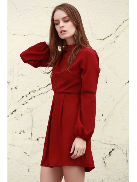 hot Long Sleeve Dress With Ladder Detail - DEEP RED L Mobile