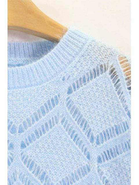 ladies Solid Color Cut Out Round Neck Long Sleeve Sweater - OFF-WHITE ONE SIZE(FIT SIZE XS TO M) Mobile