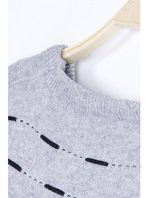 fancy Solid Color High-Low Round Neck Long Sleeve Sweater - KHAKI ONE SIZE(FIT SIZE XS TO M) Mobile