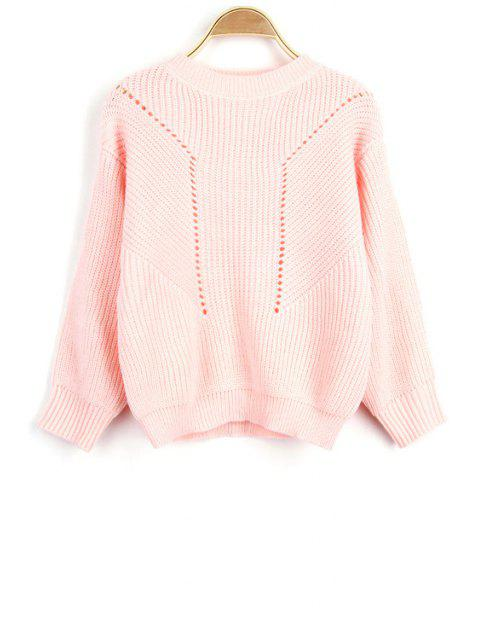 shop Solid Color Hollow Out Round Neck Long Sleeve Sweater - PINK ONE SIZE(FIT SIZE XS TO M) Mobile