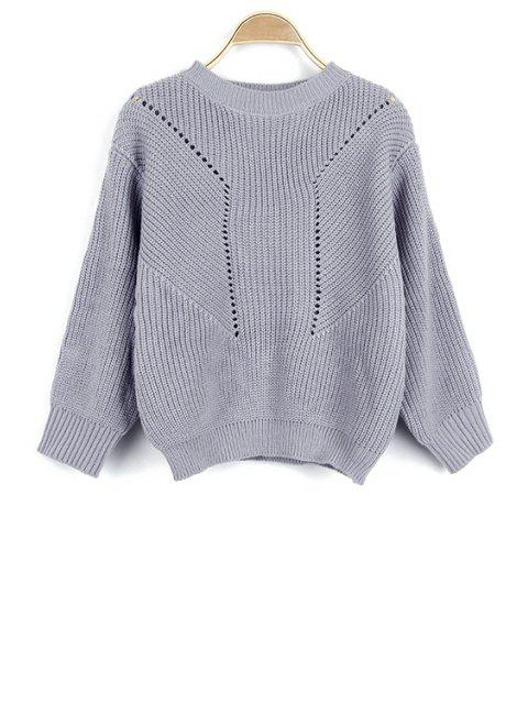 outfit Solid Color Hollow Out Round Neck Long Sleeve Sweater - GRAY ONE SIZE(FIT SIZE XS TO M) Mobile