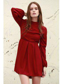 Long Sleeve Dress With Ladder Detail - Deep Red L