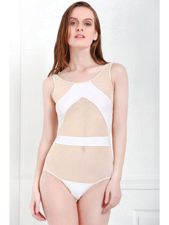 best Voile Splicing One-Piece Swimwear - WHITE S