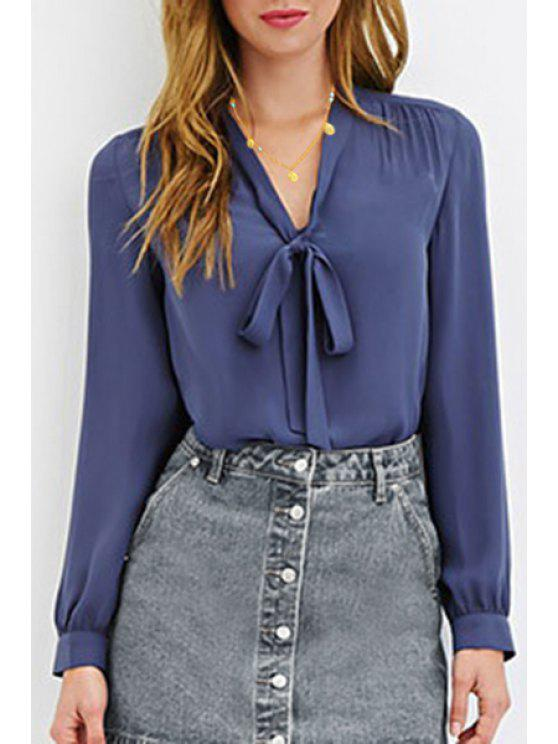 11a6e9389e16cd 30% OFF] 2019 Solid Color Bowknot Tie Long Sleeve Blouse In ROYAL ...