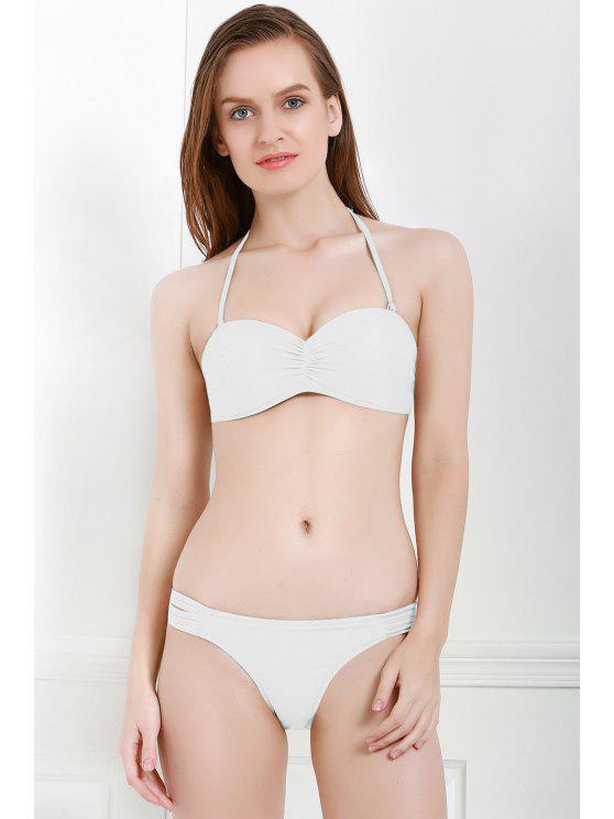 Color sólido Calado Ruffle Bikini Set - Blanco M