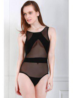 Voile Splicing One-Piece Swimwear - Black M