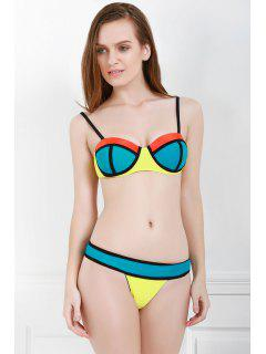 Spaghetti Strap Color Block Bikini Set - Azure M
