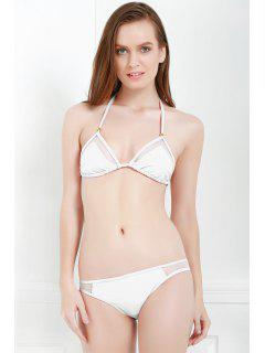 Voile Splicing Tie-Up Divided Type Swimwear - White L