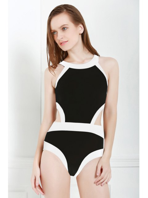 fashion Black and White One-Piece Round Neck Swimwear - BLACK XL Mobile