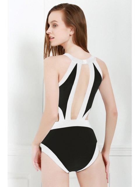 fashion Black and White One-Piece Round Neck Swimwear - BLACK XL Mobile